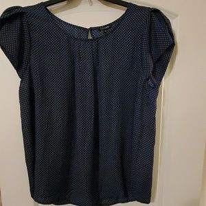 NWT 2X Navy blue blouse with white dots